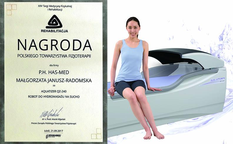 Nagroda dla robota Aquatizer QZ-240 na 25 Targach Medycyny Fizykalnej i Rehabilitacji w Łodzi – wrzesień 2017